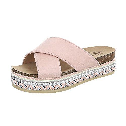 Ital-Design Pantoletten Damen-Schuhe Pantoletten Pantoletten Sandalen & Sandaletten Pink, Gr 41, G-79-