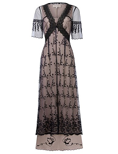Belle Poque Victorian Gothic Renaissance Maxikleid Empire Kleid Stretch Tailliert Kleid