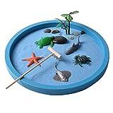 Mini sandbox per scrivania, spiaggia e giardino zen, kit di giochi di giocattoli di sabbia per bambini, ufficio, set regalo di sand box con sabbia naturale, rastrelliere in legno, rocce e accessori,a