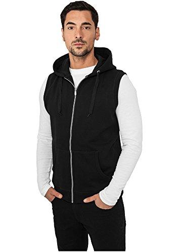 Urban Classics Light Fleece Sleeveless Zip Hoody TB255, size:S, Farbe:schwarz Fleece Sleeveless Zip