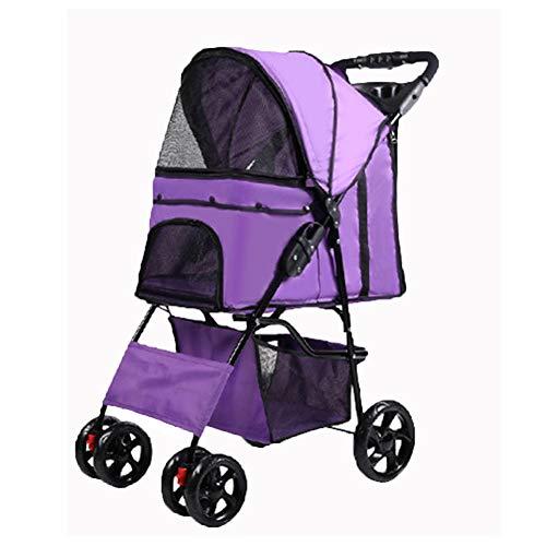 Heimtierbedarf Hundewagen Katze Kinderwagen Kinderwagen Hund Fahrradträger Licht Faltbare Hundereise-Purple