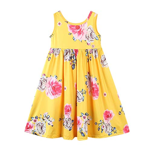 Toddler Kids Clothes Baby Girl Floral Printed Sleeveless Princess Party Maxi Dress