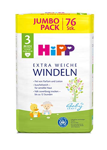 HiPP Babysanft Windeln für Babys, Geeignet von 6-10 kg, Gr. 3 (62-80), 3 Jumbopack, 76 Stück