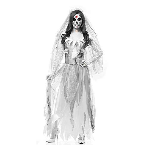 MIAO Halloween Cosplay Kostüm Erwachsene Cosplay Horror Blutige Weibliche Polizei Zombie Kostüm Geisterbraut Krankenschwester Zombie Kostüm Nonnen Geeignet Für Karneval Thema Parteien,White2,L