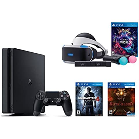 PlayStation VR Launch Bundle 3 Items: VR Launch Bundle,PlayStation 4 Slim 500GB Console - Uncharted 4,VR game disc PSVR Until Dawn: Rush of Blood(Versión EE.UU.,