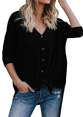 Yidarton Damen Strickjacke Casual Langarmshit Asymmetrisch V-Ausschnitt Cardigan Sexy Pullover Oberteil Sweater Top Outwear (Schwarz, XXL)