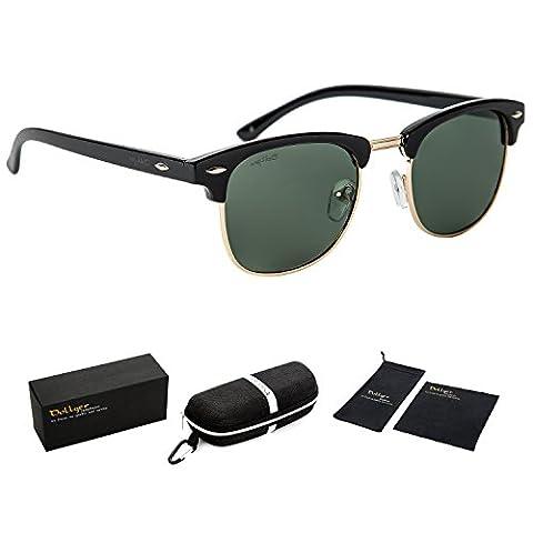 Dollger Wayfarer Clubmaster Sonnenbrille Halbrahmen Metallrahmen Spiegel Sonnenbrille(Grün