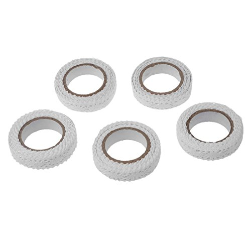 Rouleau Ruban Dentelle - SODIAL(R)5pcs Rouleau Ruban Dentelle Decoratif Adhesif Autocollant Galon Masking Tape washi DIY 18mm blanc