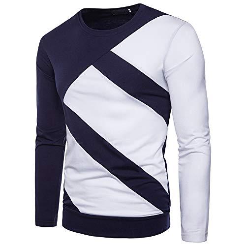 WHLWY Kapuzenpullover Freizeit Und Bequeme Männer Zweifarbige Nähte Runden Kragen Langärmeligen T-Shirt Pullover Tibetische Grüne Farbe XL