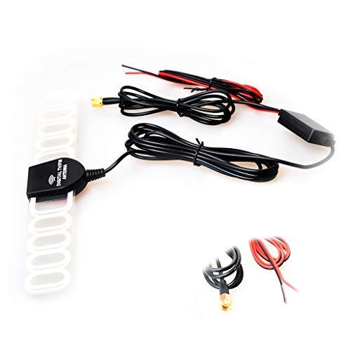 Auto Kfz FM/AM Radio Antenne Verstärker Verbinder Klebeantenne Booster Universal Antennenkabel für Analog/Digital DVB-T ATSC ISDB TV(SMA + Leistung Stecker) -