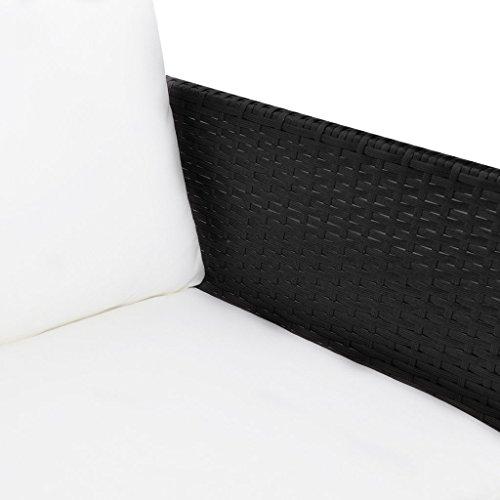 vidaXL Poly Rattan Gartenmöbel Lounge Set 3-Sitzer Schwarz - 5