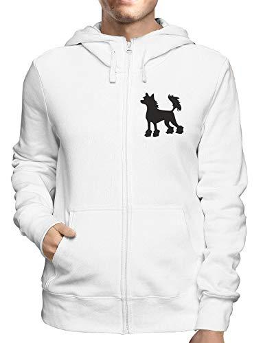 Sweatshirt Hoodie Zip Weiss WES0577 Chinese Crested Hairless Dog Silhouette Chinese Crested Dog Sweatshirt