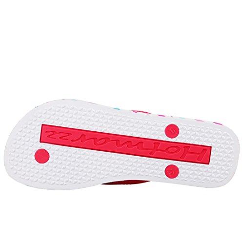 Hotmarzz Tongs dete Femme Cœur Amour Flip Flops Plage Sandales Piscine Chaussures Rose rouge