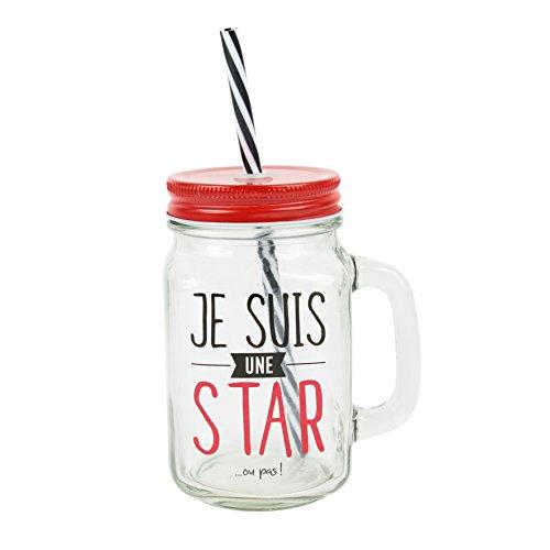 DITES LE AVEC DES MOTS FY7556 Je suis Une Star Mason jar Verre Transport/Rouge 11 x 8,50 x 19,80 cm