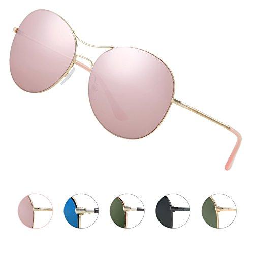 Elegear Aviator Sonnenbrille rosa, Pilotenbrille halb verspiegelt, Stylischen, Neuen Look YF01...