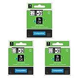 3er etikettenbandKompatibel für Dymo D1 45013 45010 Schwarz auf Weiß/Transparent12mm x 7m für DYMO LabelPOINT & LabelManager LM160 LM210D LM260P LM280 LM360D LM420P