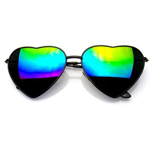 ich Metallrahmen Herz Form Sonnenbrillen (Flash-Spiegel | Schwarz) (Aviator Sonnenbrille Großhandel)