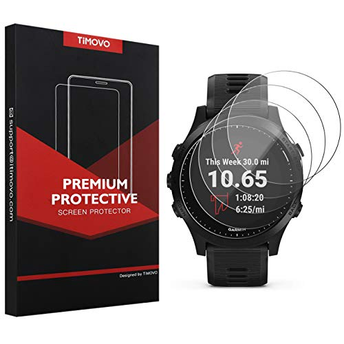 TiMOVO 5-Pack Tempered Glass Screen Protector for Garmin Forerunner 945, Premium 2.5D Arc Edges 9H Hardness HD Clear Watch Protective Film - Clear Hd Arc
