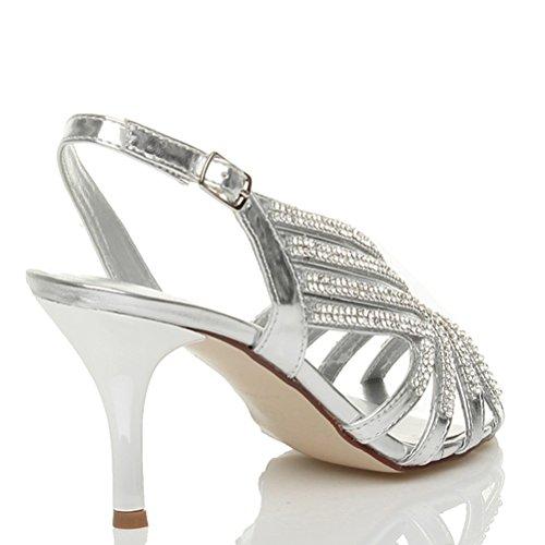 Damen Straßsteine Slingback Glitzersteinen Hochzeit Abend Welle Sandalen Größe Silber