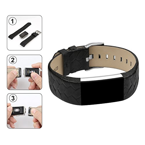 Armband für Fitbit Charge 2, echtes Lederarmband Erstatzband für Fitbit Charge 2 Unisex Fitness Armband -