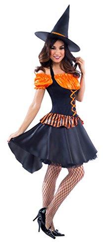 Karneval Klamotten Kostüm mit Hut Hexe Orangina Dame Halloween Hexe Damenkostüm 40/42