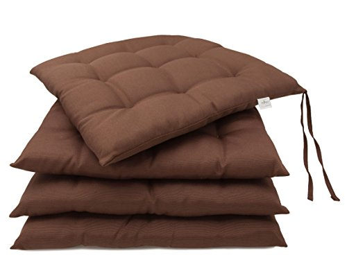 """Zollner®set di 4 cuscini da sedia/cuscini per giardino, per dentro e/o fuori, cioccolato 40x40 cm, disponibile in tanti colori diversi, direttamente dallo specialista per alberghi, serie """"mali"""""""