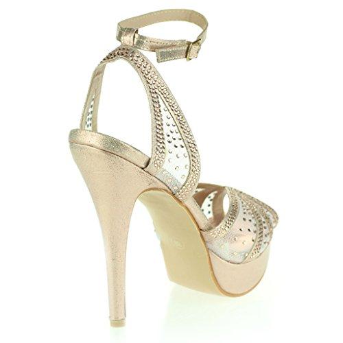 Frau Damen Diamant Peeptoe Plattform Fesselriemen Schlank Hoher Absatz Abend Party Hochzeit Abschlussball Braut Stiletto Sandalen Schuhe Größe Champagner