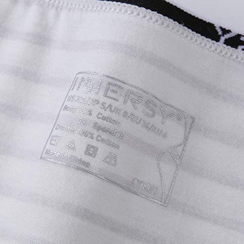 INNERSY Damen Slips Baumwolle Mehrpack Schwarz Streifen Panty Hipsters 6er Pack (46, Schwarz/Grau/Streifen) - 7