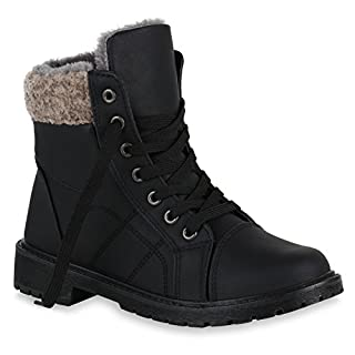 Damen Schuhe Schnürstiefeletten Warm Gefütterte Stiefeletten Kunstfell 149520 Schwarz Autol 39 Flandell