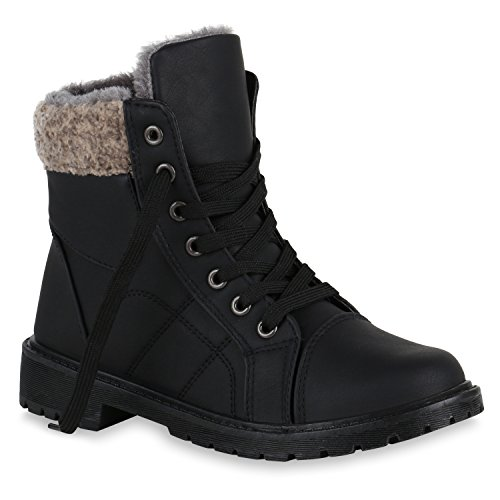 Unisex Damen Herren Warm Gefütterte Damen Worker Boots Stiefeletten Outdoor Flandell Schwarz Autol