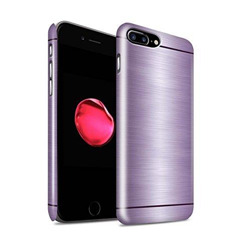 STUFF4 Glanz Snap-On Hülle / Case für Apple iPhone 8 Plus / Lila Muster / Gebürstetem Metall Mutser Kollektion Lila