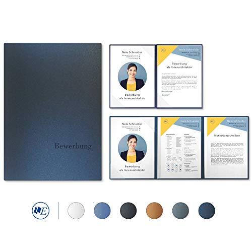 """5 Stück 4-teilige Bewerbungsmappen Esclusiva® Exzellent-plus in Nachtblau mit 2 Klemmschienen // in 1A-Premium-Qualität mit hochwertiger Flach-Prägung """"BEWERBUNG"""" // Produkt-Design von""""Mario Lemani"""""""
