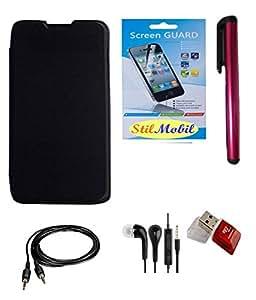 StilMobil Panasonic Eluga S Flip Cover - Black + Screen Cover + Ear Phone + Aux Cable + Stylus + Card Reader Kit