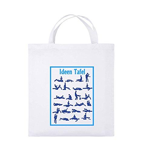 Comedy Bags - Ideen Tafel - SEXSTELLUNG - Jutebeutel - kurze Henkel - 38x42cm - Farbe: Schwarz / Weiss-Neongrün Weiss / Royalblau-Hellblau