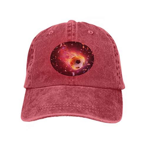 Xunulyn Adjustable Hat Baseball Flat Bottom Cap Football Ball flamy Symbol Bright Black Background Creative red
