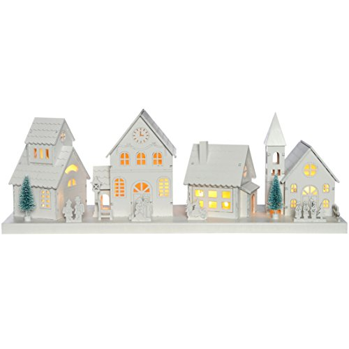 WeRChristmas Pre-Lit Wooden Village Scene Illuminated with 10 Warm LED Lights - Large, White