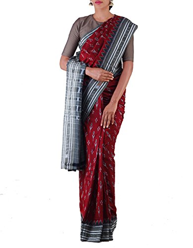 Unnati Silks Women Maroon-Grey Pure Handloom Sambalpuri Cotton Ikat Saree(UNM22078)