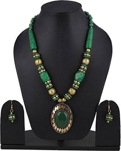 Aabhu Stone And Glass Beaded Trendy Tibetan Style Necklace Earrings Set Tribal Antique Jewellery for Women And Girl