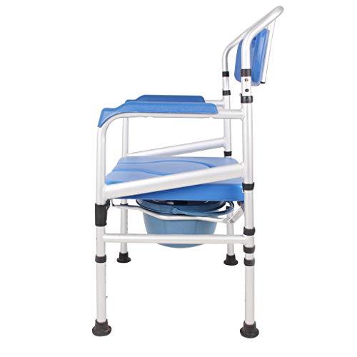 KPL-Kommode 3 in 1 Bad WC Stuhl Kommodensitz am Bett Deluxe Schwangere Duschhocker mit Ultra-Premium gepolstert Verstellbare Höhe für Erwachsene, Handicap -