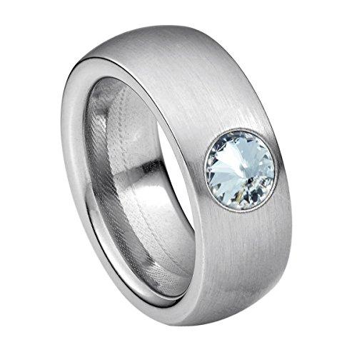 Coma 8 aus Edelstahl Silber farbend matt Damenring für Frauen mit Swarovski Stein Kristall Weiss im Fantasie Edelsteinschliff 6mm ()