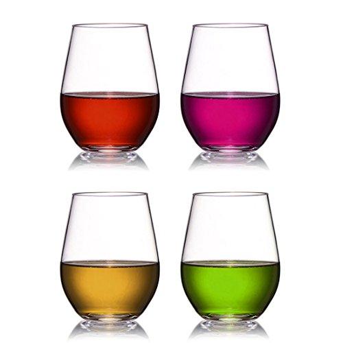 Shsyue® 4pcs Tritan Weingläser, 16oz Plastik Unzerbrechlich Trinkglaser für Party, Hochzeiten, Camping, Picknicks (16oz)