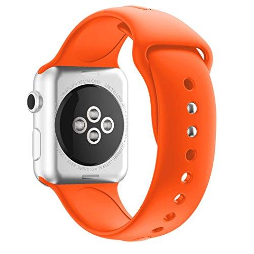 Sportband für Apple Watch Serie 1/2 42MM, CICIYONER Silikon Uhrenbänder, 14 Farben (Orange, Apple Watch Series 1/2 42MM)