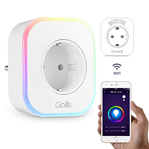 Presa Intelligente WiFi con USB, GBlife Smart Wifi Plug, Controllo Remoto/Controllo Vocale, con Interruttore e Timer, LED RGB, Compatibile con Google Home/Amazon Alexa/IFTTT / iOS/Android