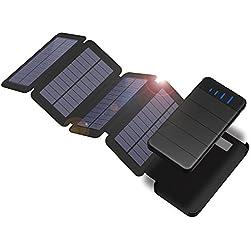 Chargeur Solaire X-DRAGON 10000mAh Détachable Power Bank avec 4 Panneaux Solaires Lumière LED pour iPhoneX 8 7 6 6S Plus 5S, iPad, Samsung Galaxy, Huawei, Smart Phones, Tablets, Camping