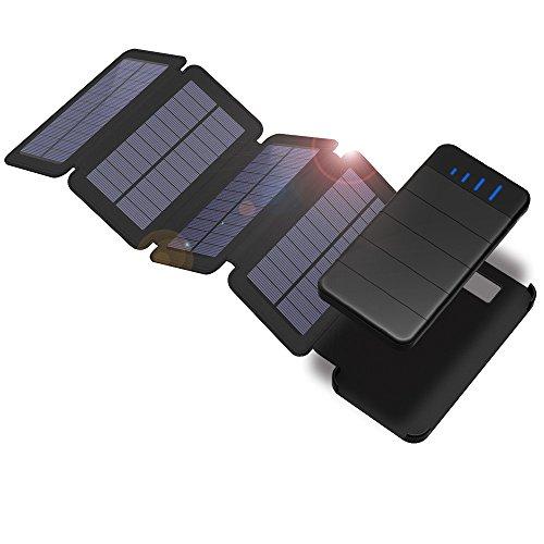 Solar Powerbank X-DRAGON 10000mAh Abnehmbare Solar Ladegerät mit 4 Solar Panels Outdoor Wasserdichte Faltbare Handy Externer Akku mit LED-Licht für iPhone, iPad, Samsung, Huawei, Tablet, weitere Smartphone