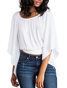 HARRYSTORE Blusa blanca sin espalda sólida de la tapa de la manga del Batwing del O-Cuello de las mujeres