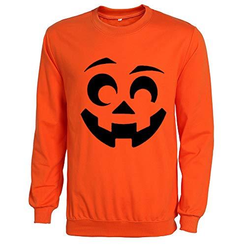 MAIMOMO Frauen Halloween Kürbis Halloween-Kürbis-Halloween-Kürbis-Muster Männer Und Frauen Pullover, Orange Pullover Schwarz Wort, Xxl