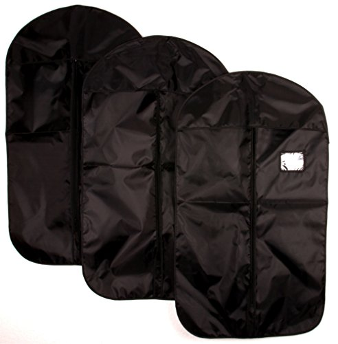 3x blupalu Kleidersack 60 x 100 cm, Farbe schwarz, ideale Kleiderhülle für den Anzug, Kleiderschutzhülle mit Reißverschluss