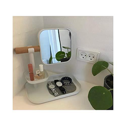 GLJSN Desktop Aufbewahrungsbox Schmuckständer Schlafzimmer Tischplatte Regal Hautpflege Lippenstift Anordnung Make-up Doppelseitiger Spiegel -