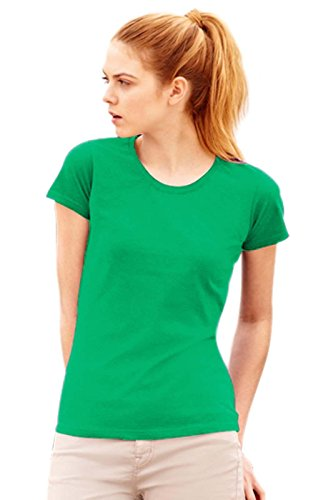 Maglietta Maniche Corte Sagomata Donna Fruit Of The Loom T Shirt Cotone Lady Fit, Colore: Verde Prato, Taglia: S